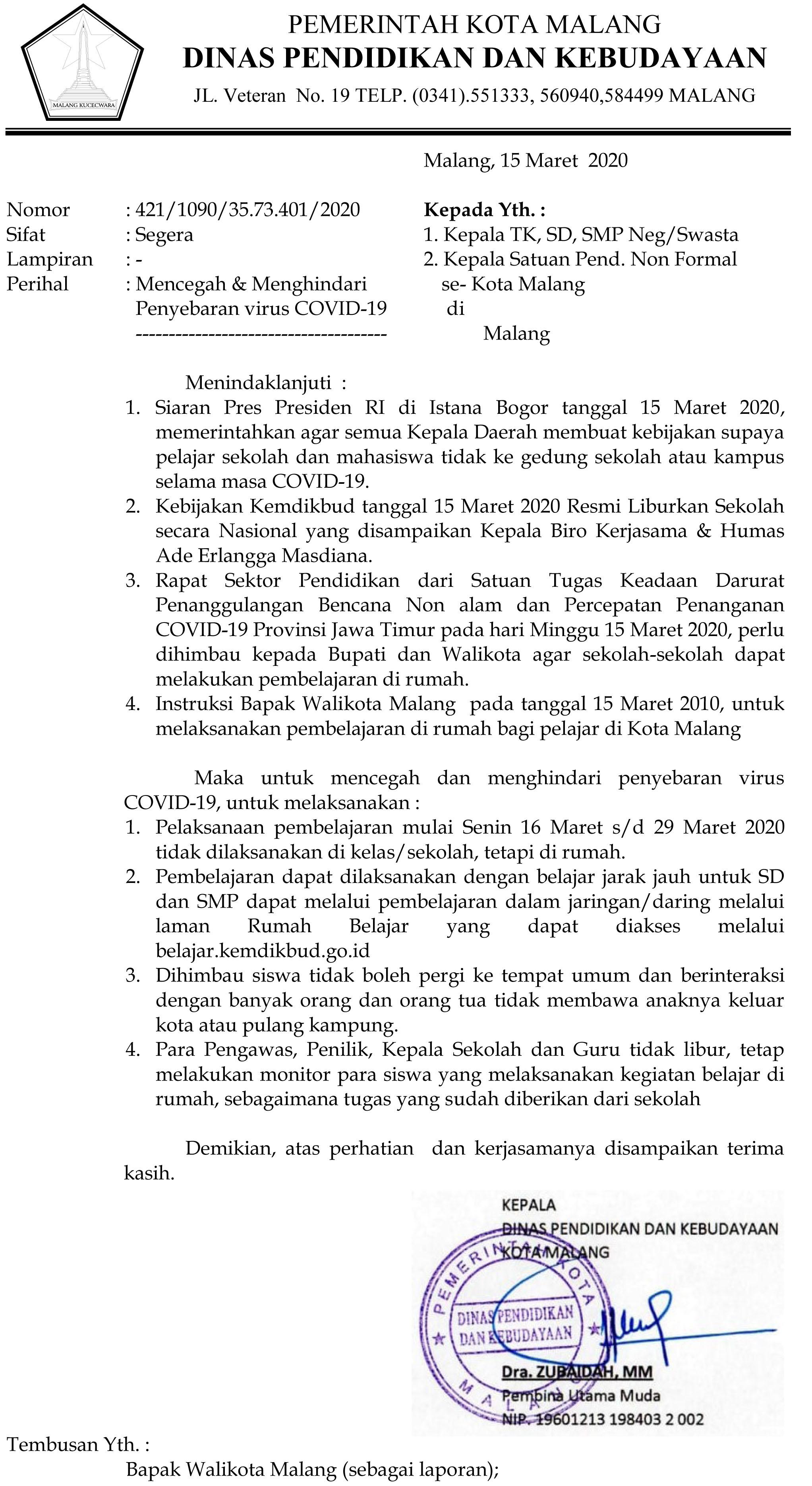 Surat Edaran Libur Antisipasi Penyebaran Virus COrona
